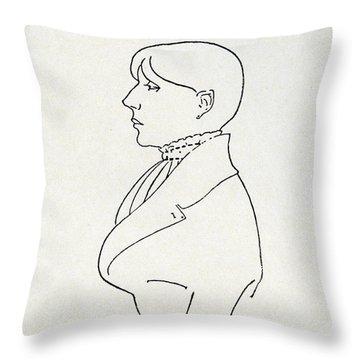 Self Portrait Throw Pillow by Aubrey Beardsley
