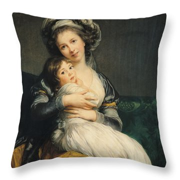 Self Portrait In A Turban With Her Child Throw Pillow by Elisabeth Louise Vigee Lebrun