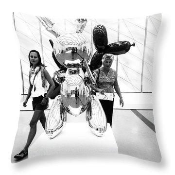 Self Portrait In Jeff Koons Mylar Rabbit Balloon Sculpture Throw Pillow