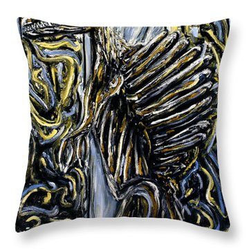 Throw Pillow featuring the painting Self-portrait- Meme by Ryan Demaree