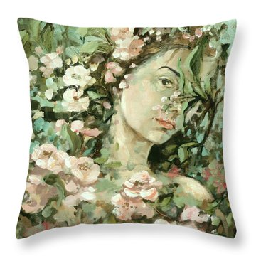 Self Portrait With Aplle Flowers Throw Pillow