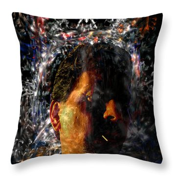 Throw Pillow featuring the digital art Self Portrait With Aura by Reed Novotny