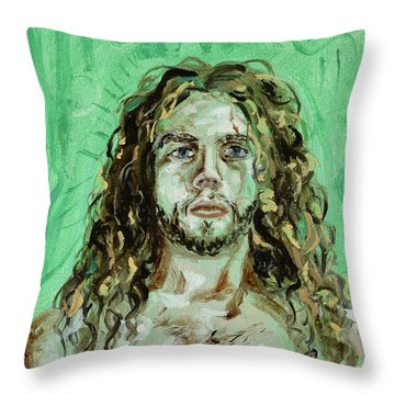 Self Portrait -with Emerald Green And Mummy Brown- Throw Pillow