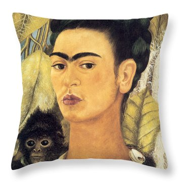 Self Portrait With Monkey  Throw Pillow