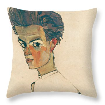 Self-portrait With Striped Shirt Throw Pillow