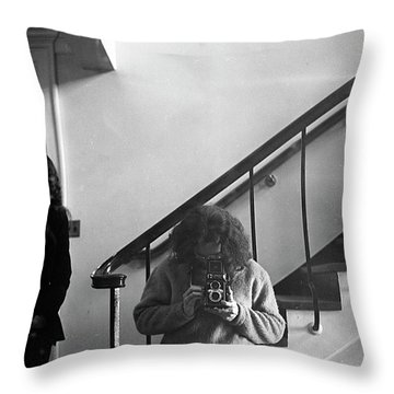 Self-portrait, With Woman, In Mirror, Cropped, 1972 Throw Pillow