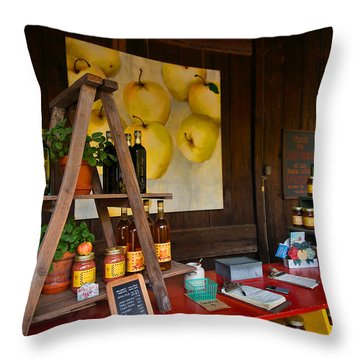 Throw Pillow featuring the photograph Market Honor System by Laura Ragland