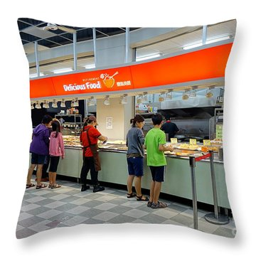 Throw Pillow featuring the photograph Self-service Restaurant On A Sidewalk In Kaohsiung City by Yali Shi