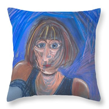 Throw Pillow featuring the pastel Selfie by Carolyn Weltman
