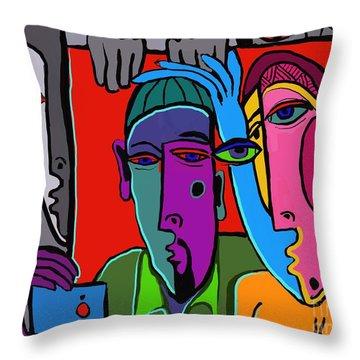 Selfie Throw Pillow by Hans Magden