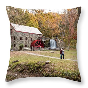 Selfie In Autumn Throw Pillow