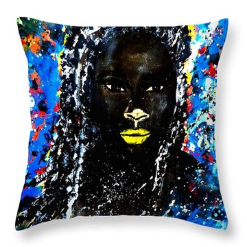 Throw Pillow featuring the painting Selfie by Tarra Louis-Charles