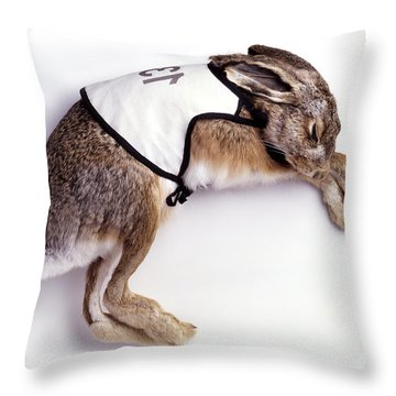 Selfportrait - Sleeping Hare Throw Pillow by Afke Golsteijn