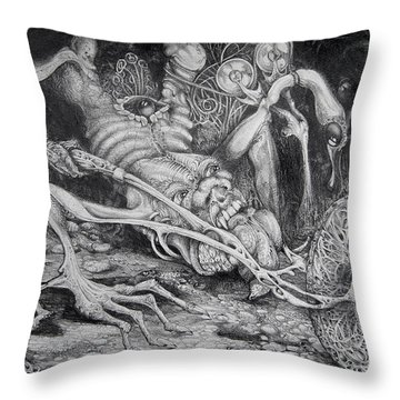 Selfpropelled Beastie Seeder Throw Pillow