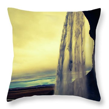Seljalandsfoss Sunset Throw Pillow