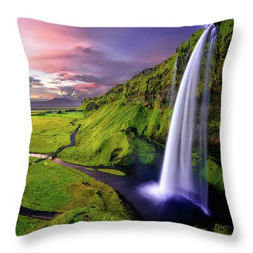 Seljalandsfoss Waterfall Throw Pillow
