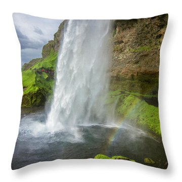 Seljalandsfoss With Rainbow, Iceland Throw Pillow