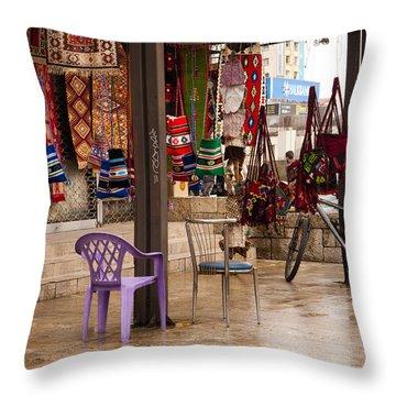 Selling At The Bazaar Throw Pillow by Rae Tucker