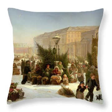 Selling Christmas Trees Throw Pillow by David Jacobsen