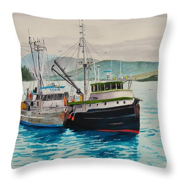 Selling Fish To Peter Pan Throw Pillow