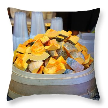 Throw Pillow featuring the photograph Selling Fresh Pumpkin Shakes by Yali Shi