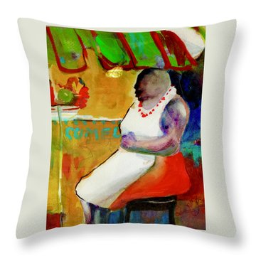 Selling Fruit In Colombia Throw Pillow