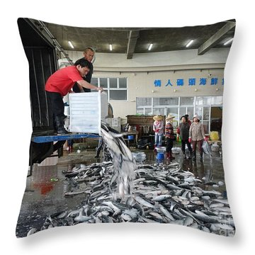 Throw Pillow featuring the photograph Selling Grey Mullet Fish In Taiwan by Yali Shi