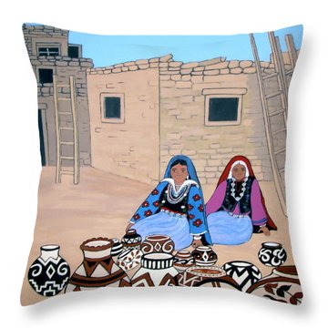 Selling Pots Throw Pillow by Stephanie Moore