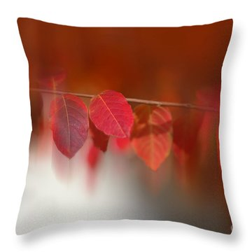Semi Abstract Red Leaves Throw Pillow by Linda Phelps
