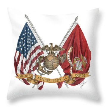 Throw Pillow featuring the painting Semper Fidelis Crossed Flags by Betsy Hackett