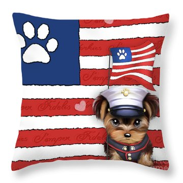 Semper Fidelis Yorkie Marine Throw Pillow
