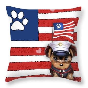 Semper Fidelis Yorkie Marine Throw Pillow by Catia Cho