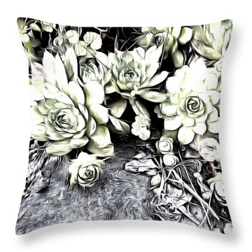 Throw Pillow featuring the photograph Sempervivum - Ebony And Ivory  by Janine Riley
