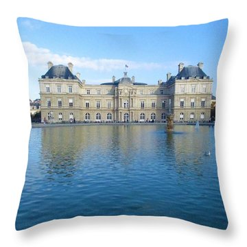 Throw Pillow featuring the photograph Senat From Jardin Du Luxembourg by Christopher Kirby