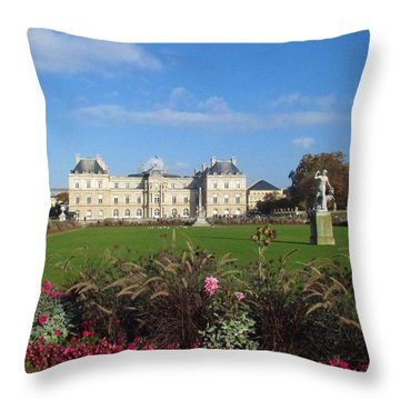Throw Pillow featuring the photograph Senate From Jardin Du Luxembourg by Christopher Kirby