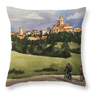 Throw Pillow featuring the painting Sencelles, Mallorca by David Gilmore