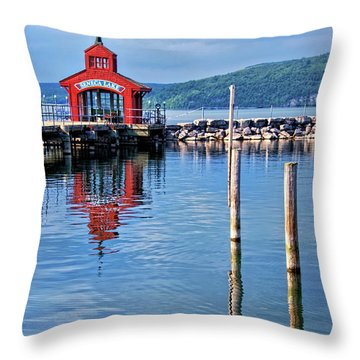 Seneca Lake Harbor Throw Pillow