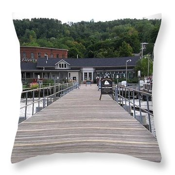 Seneca Lake Pier Watkins Glen New York Throw Pillow