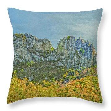 Throw Pillow featuring the photograph Seneca Rock West Virginia by David Waldrop