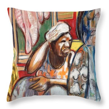 Throw Pillow featuring the painting Senegal, 1965 by Gary Coleman