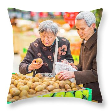 Senior Man And Woman Shopping Fruit Throw Pillow