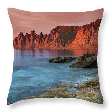 Senja Red Throw Pillow