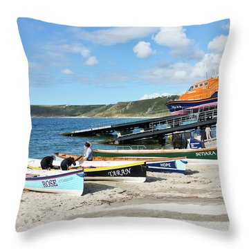 Sennen Cove Lifeboat And Pilot Gigs Throw Pillow by Terri Waters
