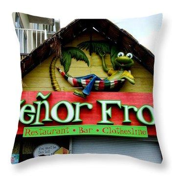 Senor Frogs Throw Pillow