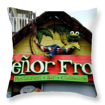 Senor Frogs Throw Pillow