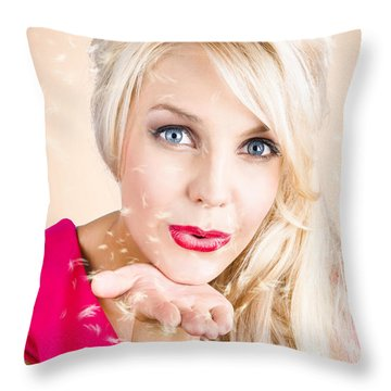 Throw Pillow featuring the photograph Sensual Woman Blowing Special Dandelion Kiss by Jorgo Photography - Wall Art Gallery