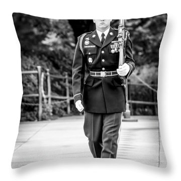 Throw Pillow featuring the photograph Sentinel At The Tomb Of The Unknowns by David Morefield