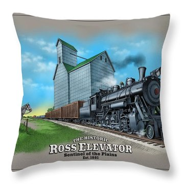 The Ross Elevator Sentinel Of The Plains Throw Pillow