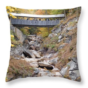 Sentinel Pine Covered Bridge Throw Pillow by Catherine Gagne