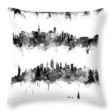 Seoul, Beijing, New York And London Custom Skyline Collection Throw Pillow